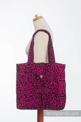 Shoulder bag made of wrap fabric (100% cotton) - CHEETAH BLACK & PINK  - standard size 37cmx37cm