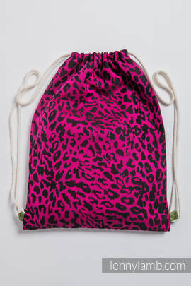 Sackpack made of wrap fabric (100% cotton) - CHEETAH BLACK & PINK - standard size 35cmx45cm