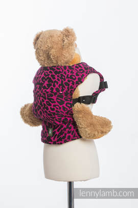 Doll Carrier made of woven fabric, 100% cotton - CHEETAH BLACK & PINK