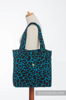 Shoulder bag made of wrap fabric (100% cotton) - GIRAFFE BLACK & TORQUOISE  - standard size 37cmx37cm