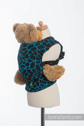 Doll Carrier made of woven fabric, 100% cotton - GIRAFFE BLACK & TORQUOISE
