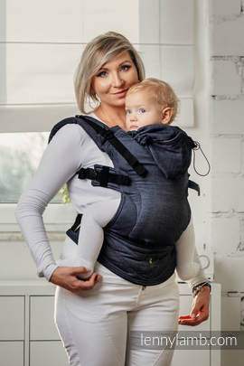 Basic Line Ergonomic Carrier - JEANS, Baby Size, satin weave 100% cotton - Second Generation