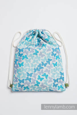 Sackpack made of wrap fabric (100% cotton) - BUTTERFLY WINGS BLUE - standard size 35cmx45cm