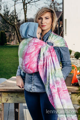 Ringsling, Jacquard Weave (100% cotton) - with gathered shoulder - ROSE BLOSSOM (grade B)