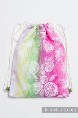 Sackpack made of wrap fabric (100% cotton) - ROSE BLOSSOM - standard size 35cmx45cm