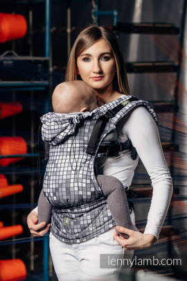 Ergonomic Carrier, Toddler Size, jacquard weave 100% cotton - wrap conversion from MOSAIC - MONOCHROME - Second Generation
