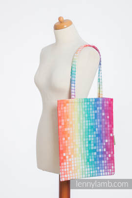 Shopping bag made of wrap fabric (100% cotton) - MOSAIC - RAINBOW