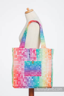 Shoulder bag made of wrap fabric (100% cotton) - MOSAIC - RAINBOW   - standard size 37cmx37cm