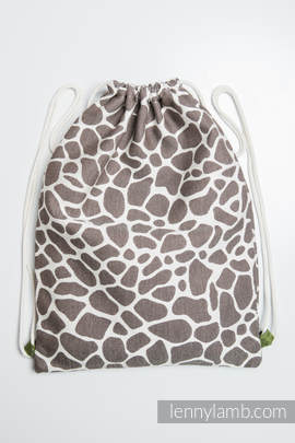 Sackpack made of wrap fabric (100% cotton) - GIRAFFE DARK BROWN & CREME - standard size 32cmx43cm