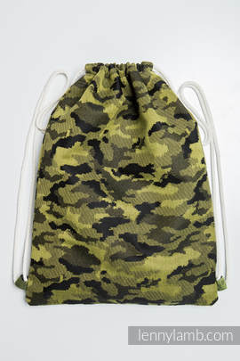 Sackpack made of wrap fabric (100% cotton) - GREEN CAMO - standard size 35cmx45cm