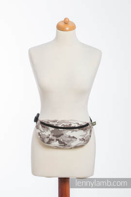 Waist Bag made of woven fabric, (100% cotton) - BEIGE CAMO