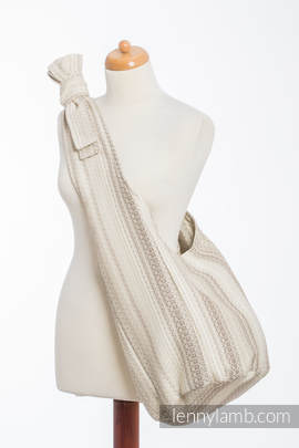 Hobo Bag made of woven fabric, 100% cotton - LITTLE LOVE - TIRAMISU