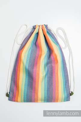 Sackpack made of wrap fabric (60% cotton 40% bamboo) - RAINBOW LIGHT- standard size 35cmx45cm