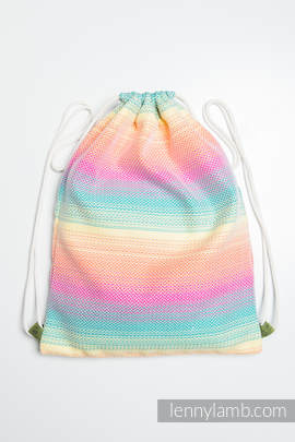Sackpack made of wrap fabric (100% cotton) - LITTLE HERRINGBONE IMAGINATION - standard size 32cmx43cm