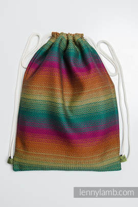 Sackpack made of wrap fabric (100% cotton) - LITTLE HERRINGBONE IMAGINATION DARK - standard size 32cmx43cm