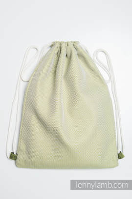 Sackpack made of wrap fabric (100% cotton) - LITTLE HERRINGBONE OLIVE GREEN - standard size 32cmx43cm