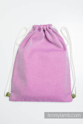 Sackpack made of wrap fabric (100% cotton) - LITTLE HERRINGBONE PURPLE - standard size 32cmx43cm