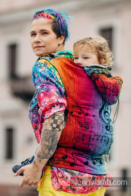 Ergonomic Carrier, Toddler Size, jacquard weave 100% cotton - wrap conversion from SYMPHONY RAINBOW DARK - Second Generation