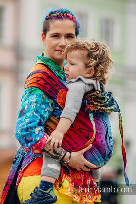 WRAP-TAI carrier Toddler with hood/ jacquard twill / 100% cotton / SYMPHONY RAINBOW DARK