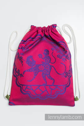 Sackpack made of wrap fabric (100% cotton) - MICO RED & PURPLE - standard size 35cmx45cm