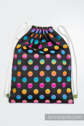 Sackpack made of wrap fabric (100% cotton) - POLKA DOTS RAINBOW DARK - standard size 35cmx45cm