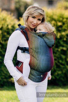 Ergonomic Carrier, Toddler Size, jacquard weave 100% cotton - wrap conversion from LITTLE LOVE - RAINBOW DARK, Second Generation
