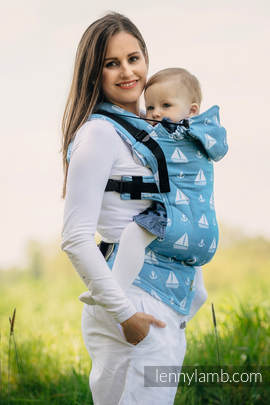 Ergonomic Carrier, Baby Size, jacquard weave 100% cotton - wrap conversion from HOLIDAY CRUISE - Second Generation