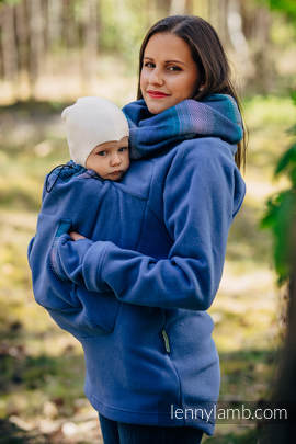 Fleece Babywearing Sweatshirt 2.0 - size 5XL - blue with Little Herringbone Illusion