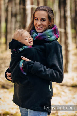 Fleece Babywearing Sweatshirt 2.0 - size XL - black with Little Herringbone Impression Dark
