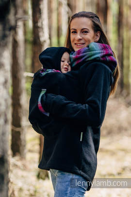 Fleece Babywearing Sweatshirt 2.0 - size M - black with Little Herringbone Impression Dark