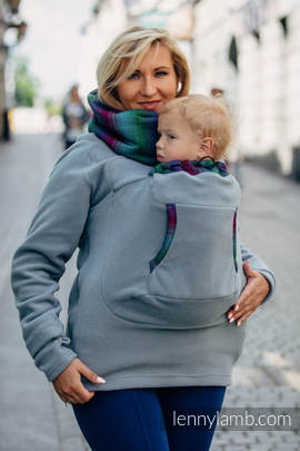 Fleece Babywearing Sweatshirt 2.0 - size 5XL - grey with Little Herringbone Impression Dark