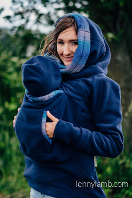 Fleece Babywearing Sweatshirt 2.0 - size 5XL - navy blue with Little Herringbone Illusion