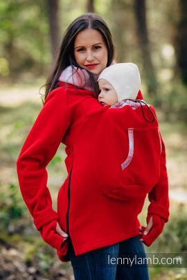 Fleece Babywearing Sweatshirt 2.0 - size XL - red with Little Herringbone Elegance