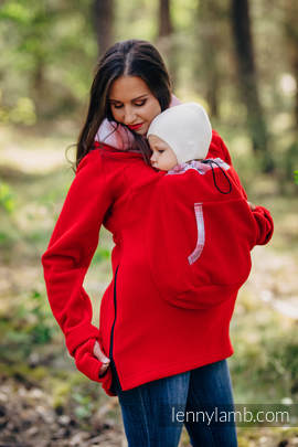 Fleece Babywearing Sweatshirt 2.0 - size M - red with Little Herringbone Elegance