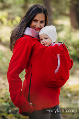 Fleece Babywearing Sweatshirt 2.0 - size 4XL - red with Little Herringbone Elegance