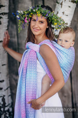 Baby Wrap, Jacquard Weave (60% cotton, 40% bamboo) - BIG LOVE - WILDFLOWERS - size L