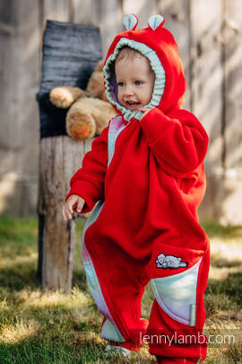 Bear Romper - size 92 - red with Little Herringbone Impression