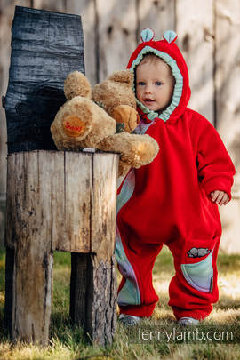 Bear Romper - size 86 - red with Little Herringbone Impression