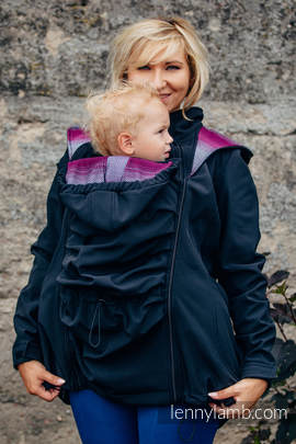 Babywearing Coat - Softshell - Black with Little Herringbone Inspiration - size XS