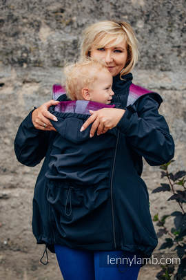 Babywearing Coat - Softshell - Black with Little Herringbone Inspiration - size XXL