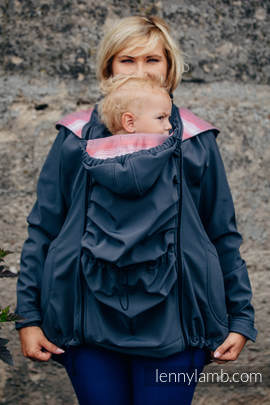 Babywearing Coat - Softshell - Charcoal with Little Herringbone Elegance - size M