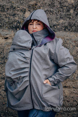 Babywearing Coat - Softshell - Gray Melange with Little Herringbone Inspiration - size 4XL
