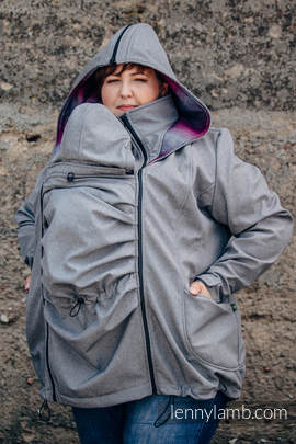 Babywearing Coat - Softshell - Gray Melange with Little Herringbone Inspiration - size 5XL