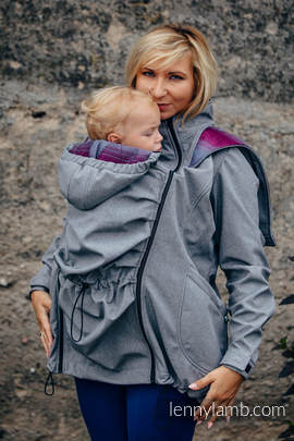 Babywearing Coat - Softshell - Gray Melange with Little Herringbone Inspiration - size XXL