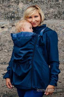 Babywearing Coat - Softshell - Navy Blue with Little Herringbone Illusion - size XL