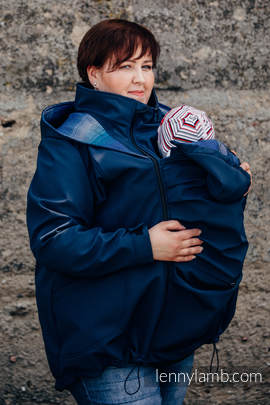 Babywearing Coat - Softshell - Navy Blue with Little Herringbone Illusion - size 5XL