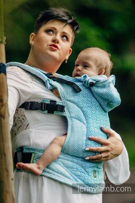 Ergonomic Carrier, Baby Size, jacquard weave 100% cotton - BIG LOVE - ICE MINT - Second Generation