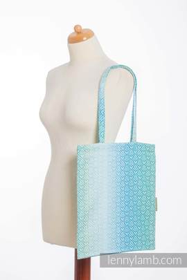 Shopping bag made of wrap fabric (100% cotton) - BIG LOVE - ICE MINT