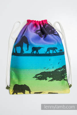 Sackpack made of wrap fabric (100% cotton) - RAINBOW SAFARI - standard size 32cmx43cm
