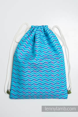 Sackpack made of wrap fabric (100% cotton) - ZIGZAG TURQUOISE & PINK - standard size 32cmx43cm